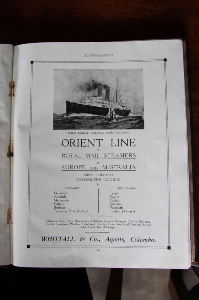 Reklama RMS Orsova z 1915 - tym statkiem Witkacy przypłynął na Cejlon